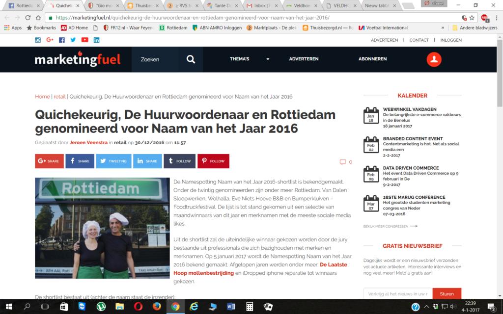 Rottiedam genomineerd voor bedrijfsnaam van het jaar 2016 door Marketingfuel.nl